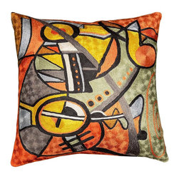 """Modern Silk - Decorative Cushion Cover Symphony II Accent Pillow Hand Embroidered 18"""" x 18"""" - This decorative pillow is artwork inspired and visually expresses musical notes and instruments.A close-up view of this abstract pillow cover allows you to see the amazing chain-stitch embroidery work of master artisans who have practiced this art their entire lives.This decorative pillow cover could grace the cabin of your boat or the chair in your solarium and yet be equally as comfortable in your den."""