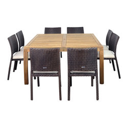 International Home Miami - Amazonia Teak Georgia 9-Piece pc Teak Square Dining Set - Great Quality, elegant design patio set, made of 100% high quality teak wood. Enjoy your patio with style with these great sets from our Amazonia Teak outdoor collection
