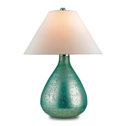 Currey and Company - Helene Table Lamp - Mercury glass gets a makeover as a sea blue finish offers a unique and sophisticated look for this Helene table lamp. The lamp catches the light with a bit of shimmer on its classic teardrop shaped base topped by an off-white shantung shade. The hand finishing process that is used on this lamp lends an air of depth and richness not achieved by less time-consuming methods.