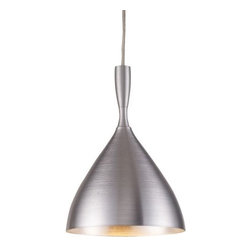 "ELK Lighting - Spun Aluminum Pendant by ELK Lighting - Give modern decor a metallic spin with the ELK Lighting Spun Aluminum Pendant. The subtle surface texture of the aluminum shade is the result of the spinning process used to create it. The shade and supports are seamlessly silvery, all finished in a Satin Nickel.Founded in Eastern Pennsylvania in 1983, ELK Lighting designs and delivers ""Lighting for Distinctive Homes."" As such, the exclusive line of ELK Lighting products has extraordinary designer appeal matched by an emphasis on value and craftsmanship.The ELK Lighting Spun Aluminum Pendant is available with the following:Details:Spun aluminum shadeAluminum supportsSatin Nickel finishRound ceiling canopy72"" Clear suspension cordUL ListedLighting:One 60 Watt 120 Volt Candelabra Base Incandescent lamp (not included).Shipping:This item usually ships within 5-7 business days."