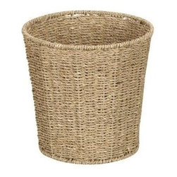 Household Essentials - Woven Seagrass Waste Bin - Our Woven Seagrass Waste Bin is ideal for bathrooms or laundry rooms. The designer waste bin has a sturdy wire frame that hold all the contents in it securely. A protective coating prevents mold or mildew.