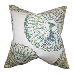 "The Pillow Collection - Ieesha Animal Print Pillow 18"" x 18"" - Liven up your space with this lovely accent pillow. Featuring a peacock print in shades of green, blue and white, this toss pillow adds a spring-inspired vibe to your home. This throw pillow blends easily with a variety of settings and themes. Made with a blend of 95% cotton and 5% linen material."