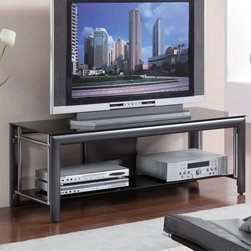 Coaster - 700702 TV Console - This cool contemporary media console will be a lovely addition to your living room or family room, offering spacious entertainment storage solutions. The TV stand has a generous top surface to hold your television, with a modern floating top, and sleek gunmetal sides. A large lower shelf is ideal for electronic components.