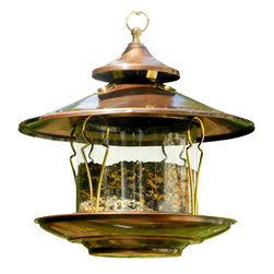 H Potter - Northern Garden Bird Feeder - Add a song to your heart — and songbirds to your backyard — with this elegant feeder. It's made of glass and steel with copper and brass accents with a wide perch sure to make all the birdies flock to hang at your house.