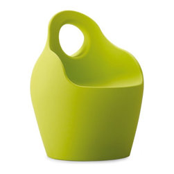Domitalia - Baba Armchair - Green - This playful and cheery personality of the Baba Armchair provides versatile seating in several bright color options. The Baba Armchair features rounded shaping with a bucket seat, its polyethylene frame molded with rotational technology. Weighing in at around 20 lbs., and with a large integrated handle, Baba is easily ported to a quiet spot or table side. Made of recyclable material that repels water, it is suitable for indoor/outdoor use. Select Red, Pistachio Green or White.