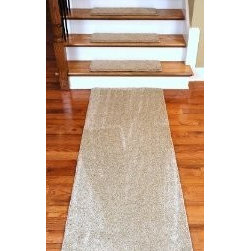 "Dean Flooring Company - Dean Premium DIY Carpet Stair Treads 27"" x 9"" Barley 70 Oz PLUS 6' Runner - Dean Premium Serged DIY Carpet Stair Treads 27"" x 9"" Barley 70 Oz PLUS a Matching 6' Runner : Quality, Stylish Carpet Stair Treads by Dean Flooring Company. Extend the life of your high traffic hardwood stairs. Reduce slips/increase traction (treads must be properly secured to your stairs). Cut down on track-in dirt. Great for pets and pet owners. Luxuriously soft 70 ounce stain and spill resistant PLUSH carpeting Set includes 13 carpet stair treads PLUS one roll of double-sided carpet tape for easy, do-it-yourself installation, AND a matching 27"" x 6' Runner. Edges are finished (serged) with attractive color matching yarn. No bulky fastening strips. You may remove your treads for cleaning and re-attach them when you are done. Add a touch of warmth and style to your stairs today with new stair treads from Dean Flooring Company!"