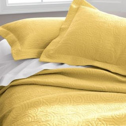 Garnet Hill - Garnet Hill Tumbled Swirl Sham - Standard - Pale Gold - A textural matelasse weave twirls and spins across this pure-cotton coverlet, taking you from season to season with ease and style. Tumble-washed for exquisite softness. Coverlet has a wide 3/4-inch hem; pillow sham has a 2-inch flange.