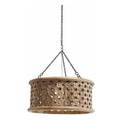 "Arteriors - Arteriors Home - Jarrod Small Carved Mirror Pendant - 86738 - Transitional 1-light hand carved wooden drum shade pendant in a natural wax finish with tiny perforations for detail and texture. Topped with an interior mirror allowing light to disperse downward and through the holes across the surface. Features: Jarrod Collection Carved Mirror Pendant Natural WaxPlain Mirror Interior Top Some Assembly Required. Dimensions: H 10"" x 22"" Dia"