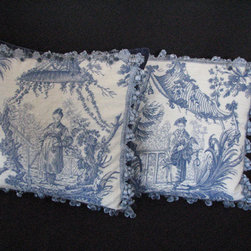 Pair Of Tapestery Pillows by 44Park Vintage - A beautiful pair of blue and white needlepoint pillows with a Chinese man and woman under a pagoda is so classic.