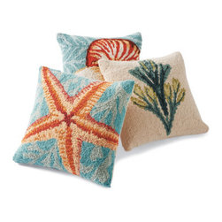 Grandin Road - Marina Throw Pillow - Hand-hooked wool front. Cotton velveteen backing. Plump poly-fill insert included. Removable cover with a hidden zipper. Dry clean. Our Marina Pillows are the perfect accent to liven up a sofa or armchair with a brilliant touch of ocean-inspired charm. Each pillow features a delightful design inspired by the treasures of the sea.  .  .  .  .  . Imported.