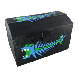Wooden Blue Bonefish Treasure Chest Storage Box Bones - This cool hardwood treasure chest shaped storage box is a perfect accent to any nautical or pirate themed room. The box is hand-stained, and hand painted with a blue and green toothy fish skeleton creature. Measuring 11 inches tall, 11 1/2 inches deep and 17 3/4 inches wide, it's perfect for storing magazines, newspapers or anything else you want to keep in it. NOTE: Since it is hand-painted, there may be slight design differences from what is shown in the pictures. The box is brand new, never displayed, and is hand-made by artisans in Indonesia. It makes a great gift for fans of nautical decor. We have a limited supply of these, so don't miss out. Get yours now.