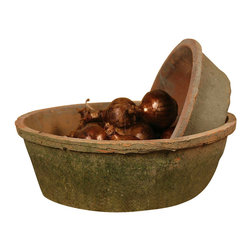 """Rustic Terra Cotta Bulb Pot - 8"""" x 3"""" - This shallow, tapered basin, a perfect place to grow bulbs and annuals or to pile popcorn balls in a transitional holiday sideboard vignette, is made from natural clays weathered to personable perfection by the elements after being crafted with care. The Rustic Terra Cotta Bulb Pot in Antique Red makes a handsomely low-key addition to an arrangement of vessels or plants."""