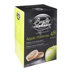 Bradley - 48-Pack Bisquets Apple Flavored - -Bradley Smoker apple bisquettes are rendered from natural hardwoods without additives, producing a clean smoke flavor