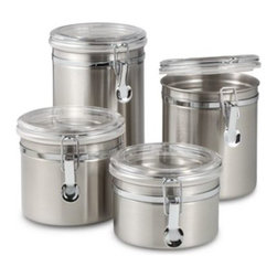 Oggi - Oggi Airtight Stainless Steel Canisters with Acrylic Tops (Set of 4) - Stainless steel canisters are an attractive addition to any counter top. The chrome locking clamps with silicone gaskets insure an airtight seal.