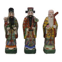 China Furniture and Arts - Porcelain Three Lucky Gods - Fu (good luck), Lu (high rank and fortune), and Shou (longevity) are considered the three essential elements for a happy life in Chinese Culture. Representing a family-oriented culture, the god Fu is depicted with a child in his arm. Wearing a hat of a high official in the emperor's court, the god Lu represents good fortune. As a society based on Confucius's scholar-statesman philosophy, the way to acquire good fortune was first to receive a good education and then to become a high rank official. He is always in the center of these three. The long-bearded old sage is the God of longevity. He is always seen with a peach in his hand which is a symbol of longevity in Chinese mythology. Made of porcelain, the three gods are seen in most Chinese households and bring positive Feng-Shui.