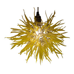 """ecofirstart - Yellow Spore Lamp, 18 - Captivating Modern Elegance with ��_��_��_Unexpected Materials��_ Title: """"Spore"""" Medium: Recycled Plastic Bottles & Aluminum."""