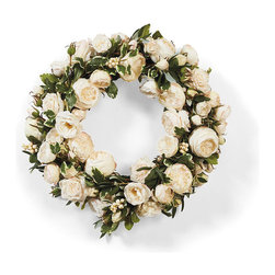 "Frontgate - Rose Garden Wreath - 24"" dia. - Arrives ready to hang. Designed for use indoors or in a sheltered outdoor area. Made of polyester, bamboo, plastic, and wire. Dust with a dry cloth. White roses, the symbol of innocence and virtue, will grace your door with elegance. This sumptuous, handmade Rose Garden Wreath is filled with lifelike blooms of roses and pittosporum.  .  .  .  . Imported."