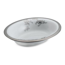 Vera Wang - Vera Wang Wedgwood Vera Lace 9 3/4-Inch Oval Open Vegetable Bowl - Vera Wang's beautifully detailed and elegant bridal gowns inspire this dinnerware pattern. The fine bone china captures luxurious lacework in rich platinum for a delicate statement on your table.