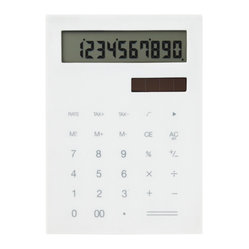 IDEA International - Slim Calculator Large - White - A minimal and slim calculator. This calculator was designed to be slim and flat so that you can carry around with notebooks or schedule books easily. It's rhythmical clicking sounds and touch will give you comfort. Also available in a small version.