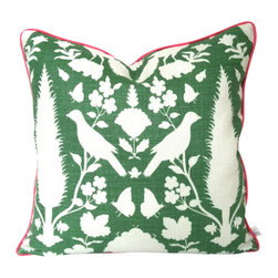 The Pillow Studio - Fun and Funky Schumacher Pillow Cover in Orange and Green with Pink Piping - This fun and dunky pillow has two bold patterns and colors and is finished off with a fabulous pink trim.