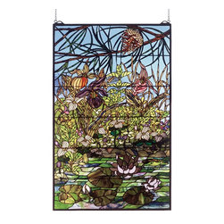 Meyda Tiffany - Meyda Tiffany Woodland Lilypond Window X-36505 - An intricately design with a plethora of details, including botanical accenting throughout and a vivid blue sky, helps draw the eye in to this Meyda Tiffany window. From the Woodland Lilypond Collection, this elegant design is ideal for an array of settings from great rooms to grand foyers.