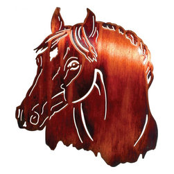 Lazart - Horse Bust 16-inch Western Metal Wall Art - Western  metal  wall  art  doesn't  get  better  than  this  beautifully  designed  horse  bust  in  a  honey  pinion  finish.  With  head  slightly  turned  to  the  side  and  despite  this  western  wall  art's  construction  from  sheet  steel,  we  feel  the  velvety  musculature  of  the  soft  muzzle  and  sense  the  noble  strength  of  the  gracefully  curving  neck.  This  realistic  metal  wall  art  is  a  wonderful  way  to  display  your  love  of  horses  and  to  celebrate  your  western  heritage.            See  more  western  metal  art.                  Honey  pinion  finish  is  applied  through  a  heat  transfer  process              Favor  the  equestrian  in  your  life  with  the  rich  warmth  and  realism  of  this  metal  wall  art