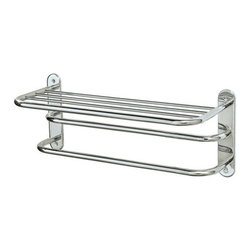 """Gatco - Gatco 1534 Chrome  26-1/2 Inch Double Towel Rack with Top Shelf - 26-1/2 Inch Double Towel Rack with Top ShelfThe finest in fashion bath, kitchen and home accessories. From traditional to contemporary, offering a variety of designer collections to compliment your style. Choose from many bathroom accessories such as towel bars, mirrors, grab bars, shower curtain rods, hooks, and free standing and counter top accessories.Gatco s Premier collections are constructed of the finest brass. Our high quality pieces are fabricated under a process know as forging. Forging is the ideal manufacturing process for creating smooth and precise detail of solid brass. Our finishes are the finest in the industry with each piece hand polished to perfection.Features:Forged Brass ConstructionMatching ScrewsEasy To InstallDouble Towel Rack with ShelfSpecifications:Height: 10.5""""Length: 26.5"""""""