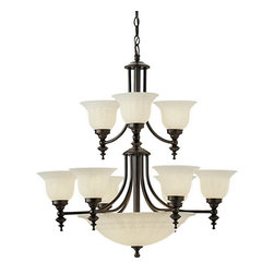 Dolan Designs - Dolan Designs 664-30 Richland 12 Light Chandeliers in Royal Bronze - The Richland 2-tier chandelier adds warmth and comfort to your dining room or entryway.  Graceful balance and elegant proportions distinguish the Richland series.  Sculpted bell-shaped alabaster glass on the arms illuminates with a natural look and is complemented by a scalloped alabaster glass bowl at the bottom of the fixture.  Royal Bronze finish provides richness to the clean arms for a design that matches most d�cor themes.  At 32 inches high and 30 inches wide this chandelier is ideal for a large dining area, grand room or entryway.  Includes six feet of chain and nine feet of wire as well as a six-inch ceiling canopy and mounting hardware.  See the entire Richland family to create a consistent theme of beautiful lighting throughout your home.  Dolan Designs offers the finest styles and finishes available in home lighting today, allowing you to create a distinctive look for your home.  Simple, clean and classic designs to complement a wide variety of decorating styles are the hallmarks of Dolan Designs.