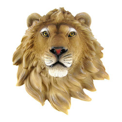 Zeckos - African Lion Head Mount Wall Statue Mini Bust Leo 9.5 In. - This awesome, cold cast resin replica African Lion mini wall mount is a perfect addition to any jungle themed room. The head measures 9 1/2 inches tall, 8 1/4 inches wide and 4 inches deep. The detail is incredible, down to the hand painted eyes. This mini lion's head is Brand New, and makes a great gift for any big cat fan or people whose Zodiac sign is Leo.