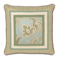 Frontgate - Southport Border Collage Pillow - From Eastern Accents. Dry clean only recommended. Because this bedding is specially made to order, please allow 4-6 weeks for delivery.. Demure elegance and a soft color palette characterize the Southport Bedding Collection. A feminine paisley pattern pairs with cotton and matelasse fabrics, and the gorgeous pillows feature unique designs.  .  . . Made in USA of imported goods. Part of the Southport Bedding Collection.
