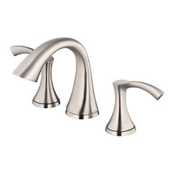 "Danze - Danze D304022BN Brushed Nickel Widespread Faucet - Danze D304022BN Brushed Nickel Two Handle Widespread Lavatory Faucet is part of the Antioch Bath collection.  D304022BN 3 hole 6""-12"" Widespread lav faucet has a 4 1/2"" long and 5"" high spout, with drain assembly.  D304022BN Two lever handles meets all requirements of ADA.  California and Vermont compliant."