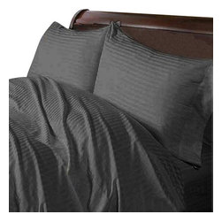 Hothaat - 600TC 100% Egyptian Cotton Stripe Elephant Grey Olympic Queen Size Fitted Sheet - Redefine your everyday elegance with these luxuriously super soft Fitted Sheet. This is 100% Egyptian Cotton Superior quality Fitted Sheet that are truly worthy of a classy and elegant look.
