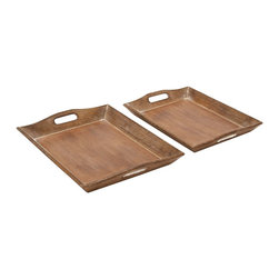 """Set of 2 Wood Tray with Rich Brown Finish - Offering a touch of elegance to settings both modern and traditional, this Wood Tray S/2 18"""", 17""""W is designed with great finesse. Adorned with a rich, brown finish, this tray set has a weathered accent for that old-world charm.  Minimalistic in design yet high on functionality, this elegant tray set can be placed on coffee tables to display knick-knacks and other such collectibles for a charming appeal. Made with skilled craftsmanship from premium grade wood, this tray set includes two trays with an identical design. Simple yet sophisticated, these elegant trays flaunt a trapezoidal design, and have a fluted edge for an attractive appeal. Expertly crafted from top quality wood, this set of tray is sturdy and durable, and has a long shelf life.. It comes with the following dimensions"""
