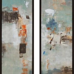 Paragon Decor - Hideaway Set of 2 Artwork - Abstract Giclee is textured and dimensionally framed in dark wood finish molding.