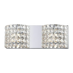 Two Light Crystal Chrome Vanity - Shades of shimmering crystal set upon chrome fixture diffuse and soften the light, to create a two light vanity with a soft glow and a sophisticated look.