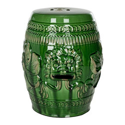 Safavieh - Sardinia Garden Stool - Use the striking barrel-shaped Sardinia Stool in the garden or any indoor room as a spare seat, side table or plant stand.  Adorned with the celebrated Chinese guardian lion motif which is known in the West as the foo dog, the symbolism of this emerald green ceramic stool dates to the Han Dynasty.