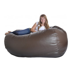 None - Slacker Sack 6-inch Large Brown Oval Faux Leather & Foam Bean Bag Chair - This large oval brown bean bag chair easily fits two (2) to three (3) people. With high quality foam and a super comfortable faux leather cover this bean bag is quite cozy.