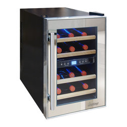 Vinotemp - 12-Bottle Dual-Zone Thermoelectric Mirrored Wine Cooler - The Vinotemp VT-12TSP-2Z wine cooler is a dual-zone thermoelectric wine cooler with enough room to hold approximately 12 bottles. Accurately control the temperature of your wine with two independent zones that can be set for to the optimal temperatures for red and white wines. The thermoelectric cooling system of this unit protects your wine from unnecessary vibration. Thermoelectric cooling is not only good for your valuable wine collection and energy efficiency but also for the environment, because this type of cooling does not use ozone-depleting chemicals like CFCs. This attractive wine cooler includes dual-Pane glass windows, which have better insulation properties, better UV protection, and also are easier to clean. Featuring a black cabinet, mirrored door trim and modern pole handle this compact and unique wine cooler is perfect for your smaller storage needs.