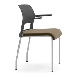 Steelcase - Steelcase Move Multi-Use Chair, Platinum Frame w/Arms & Glides - Under the seat cushion of the Steelcase Move chair lies an innovative support system that conforms to your body. Flexors inside the seat curve with your curves and move as you move. So move around. Versatile, stackable, and environmentally friendly. Move chairs are guest chairs that also stack up to 5 high. Live dynamic seat, open cantilever arm design, light weight, and strength make Move a logical choice for multipurpose areas.
