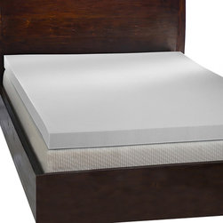 Comfort Dreams - Comfort Dreams 'Mem-Cool' 4-inch Queen/ King-size Memory Foam Mattress Topper - Minimize tossing and turning and get a good night's rest with this durable memory foam mattress topper. This four-pound topper features temperature-sensitive,breathable foam that cradles your body as you sleep,ensuring your comfort.