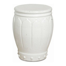 """The Ivory Company - A Thousand Blossoms  Garden Stool, Large - Carved flower petals gently wrap around the classic barrel shape, while raised, round dots accent the base. Sturdy ceramic construction with a flat top. Use as an extra casual seat, accent table or base to a glass table top. White with a high-gloss finish.These exquisitely crafted pieces are a lovely way to accent your home. Inspired by different classic oriental styles these garden stools have become a modern day art form. These stools come in a large variety of styles and colors. We have selected ours for the distinctive design aesthetics they portray and the overall sense of scale and drama that they seem to convey. Enjoy these in and out of the house - they are wonderful accent pieces and go well with all types of decor.Measures 18x21""""H"""