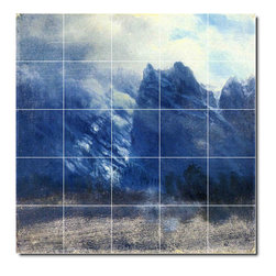 Picture-Tiles, LLC - Yosemite Valley Twin Peaks Tile Mural By Albert Bierstadt - * MURAL SIZE: 40x40 inch tile mural using (25) 8x8 ceramic tiles-satin finish.