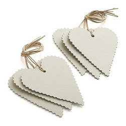 Set of 6 Heart Gift Tags - Rick-rack edges and twine add a handcrafted, old-fashioned feel to these blank gift cards cut into heart-shaped tags.
