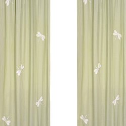 Green Dragonfly Dreams Window Panels (Set of 2)