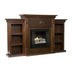 Home Decorators Collection - Tabitha Fireplace with Bookcases - Combining function and warmth, the enchanting Tabitha Fireplace with Bookcases will expertly enhance your home whether you place it in your living room, bedroom or home office. Picture sitting in front of the warmth of the fire on cold evenings, admiring the classic floral design that is carved across the top of the firebox. Instantly remodel your home with this fireplace; order today. Can move from room to room; no installation required. 6 bookshelves provide storage for books, media and accessories.