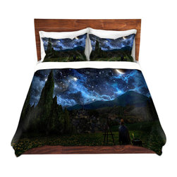 DiaNoche Designs - Duvet Cover Twill - Starry Night - Lightweight and soft brushed twill Duvet Cover sizes Twin, Queen, King.  SHAMS NOT INCLUDED.  This duvet is designed to wash upon arrival for maximum softness.   Each duvet starts by looming the fabric and cutting to the size ordered.  The Image is printed and your Duvet Cover is meticulously sewn together with ties in each corner and a concealed zip closure.  All in the USA!!  Poly top with a Cotton Poly underside.  Dye Sublimation printing permanently adheres the ink to the material for long life and durability. Printed top, cream colored bottom, Machine Washable, Product may vary slightly from image.
