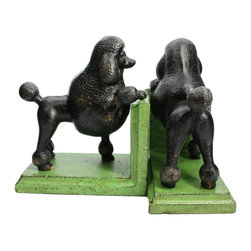 HomArt - Cast Iron Gomez the Poodle Bookends - Decorate your home with these sturdy Cast Iron Gomez the Poodle Bookends. The bookends feature small black poodle sculptures set atop distressed lime green bases. Display these bookends alongside other farmhouse elements for a bright, charming look.