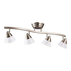 KICHLER - KICHLER LED Contemporary Directional Wall / Ceiling Light X-IN52301 - Contemporary with a hint of Art Deco influencing, this Kichler Lighting directional rail light can be wall or ceiling mounted. With a Brushed Nickel finish, the glass shades feature a clear polished exterior and etched interior that completes the look.