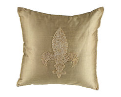"Brandi Renee Designs - Fleur de Lis Hand Beaded Pillow 16"" Square - This elegant pillow is designed with beautiful hand beaded embellishment of a fleur de lis with beads on a sleek fabric. Available in colors Black, Red & Khaki."