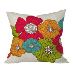 DENY Designs - Valentina Ramos Flowers Throw Pillow, 16x16x4 - Wanna transform a serious room into a fun, inviting space? Looking to complete a room full of solids with a unique print? Need to add a pop of color to your dull, lackluster space? Accomplish all of the above with one simple, yet powerful home accessory we like to call the DENY throw pillow collection!